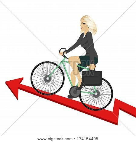 Business woman with briefcase riding bicycle up a success arrow. Business growth concept. over white background