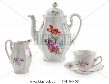 Vintage Czech Porcelain Set For Coffee, Old Style Rich Decorated By Flower Decors. There Are Coffee