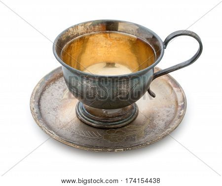 Vintage Silverware, Very Old Rich Decorated Metal Cup For Coffee On A Saucer Isolated On A White Bac