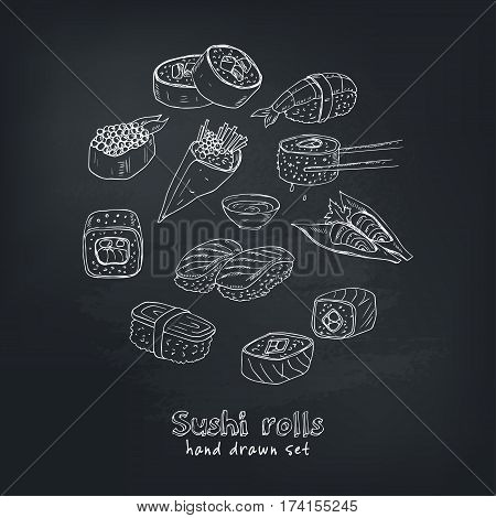 Japanese seafood sushi rolls with salmon, smoked eel, selective food vector. Asia cuisine restaurant delicious.