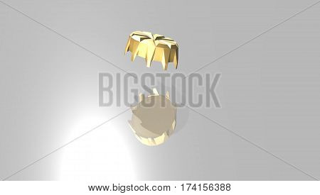 Golden  bottle cap with reflection..