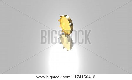 A Golden  bottle cap with reflection .