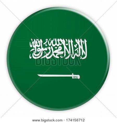 Saudi Arabia Flag Button 3d illustration on white background