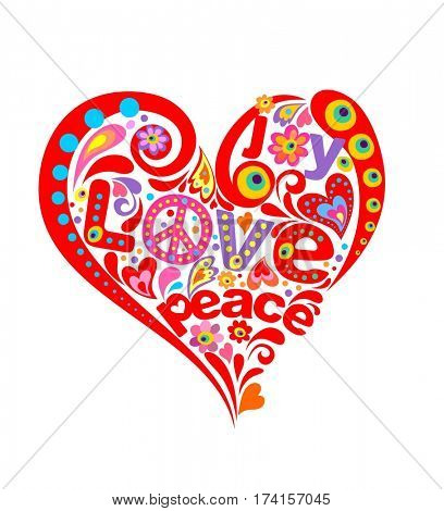 Print with abstract heart with hippie symbolic