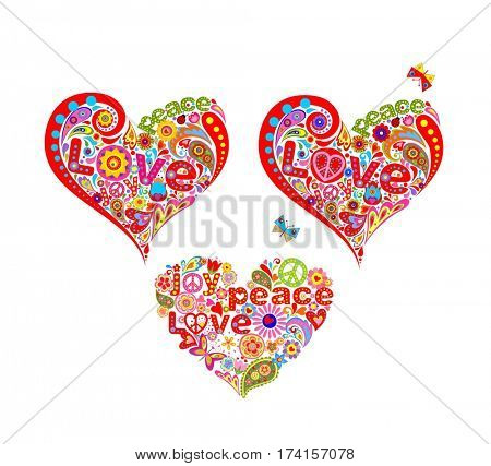 T-shirt prints with funny decorative hippie heart shapes