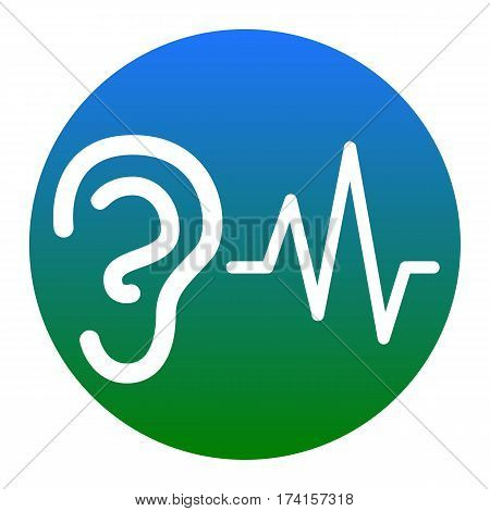 Ear hearing sound sign. Vector. White icon in bluish circle on white background. Isolated.