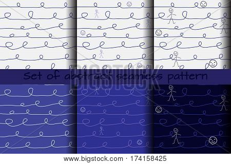 set of abstract seamless patterns of curves and primitive