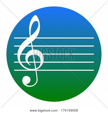 Music violin clef sign. G-clef. Vector. White icon in bluish circle on white background. Isolated.