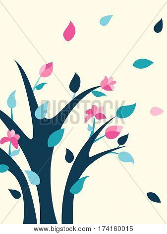 Spring illustration with bright flowering shrub. Spring bush. Vector illustration.