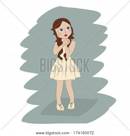 Cute little girl clasped her hands in astonishment. Cartoon character for apparel or other uses in vector. T-shirt print or Book illustrations for children. Isolated on white background.
