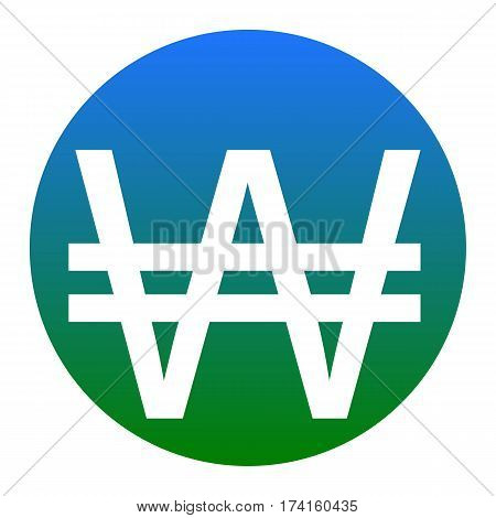 Won sign. Vector. White icon in bluish circle on white background. Isolated.