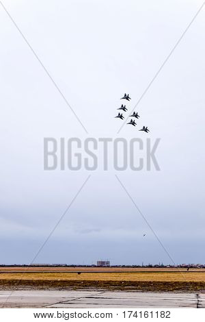 Air Show In The Sky Above The Krasnodar Airport Flight School. Airshow In Honor Of Defender Of The F