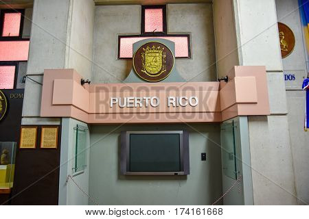 Santo Domingo, Dominican Republic - January 30, 2016: Portorican Stand. Museum Inside The Lighthouse