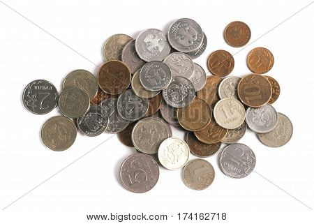Scattered Coins On White Background,