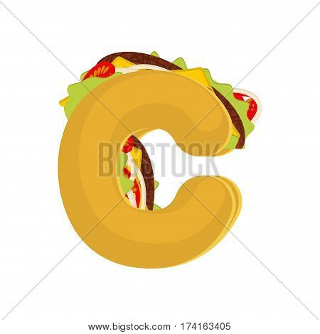 Letter C Tacos. Mexican Fast Food Font. Taco Alphabet Symbol. Mexico Meal Abc