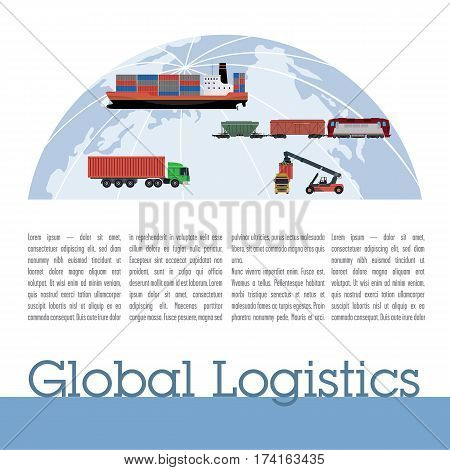 Publication template logistics. Contains the globe, ship, train, motor hauler columns of text and title.