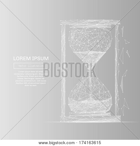 White abstract sand clock polygonal, geometry triangle. Light connection structure . Low poly vector on gray business concept background.