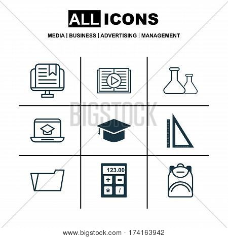 Set Of 9 School Icons. Includes Measurement, Haversack, Distance Learning And Other Symbols. Beautiful Design Elements.