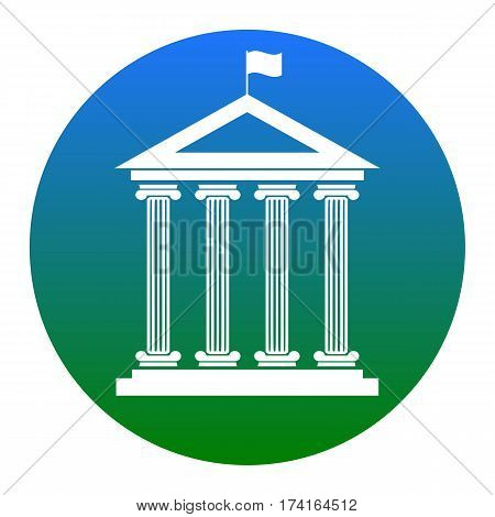 Historical building with flag. Vector. White icon in bluish circle on white background. Isolated.