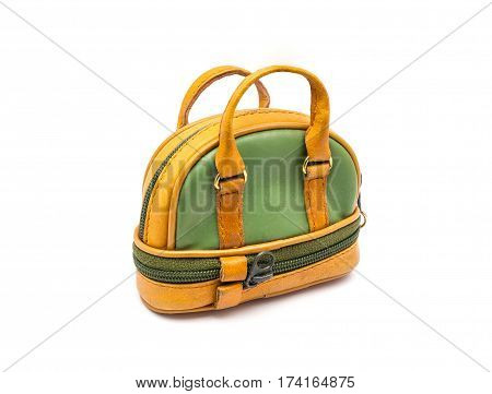 Small Green and Brown Bowling Style Bag on White Background/ Isolated