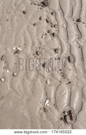 Texture of yellow sand. Beach sand patterns in warm evening sunlight. Straight rows of sand on beach. Close up of sand. Beautiful sand background for vacation themes.