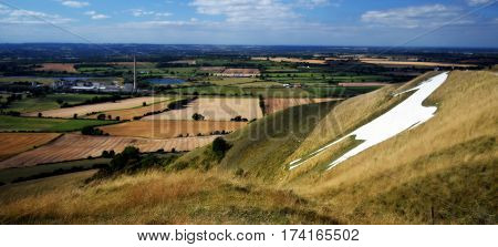 Panoramic picture,view on the White Horse hill in England.Wiltshire count.