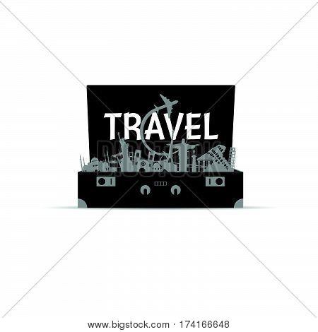 Travel Icon In Bag Paradise Illustration