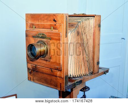 Old vintage camera accordion. french wood camera.