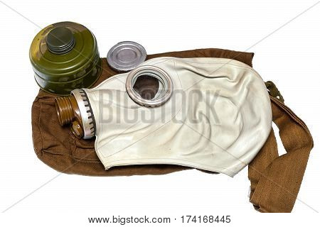 Gas mask. A set of chemical protection of civil defense of the Soviet era (USSR) isolated on white background
