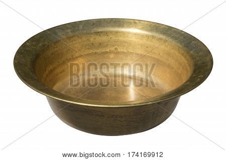 old vintage cooper round deep pan isolated on white background