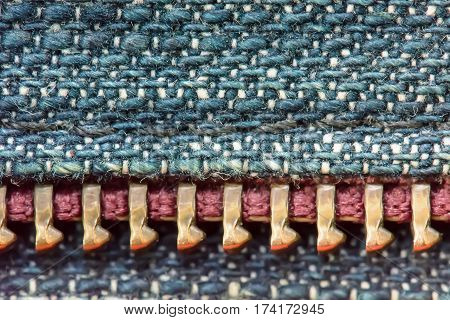 Zipper On The Denim Texture