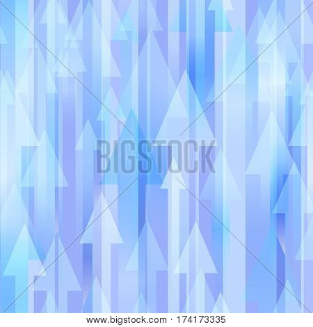 Blue seamless vector background with many different sized arrows