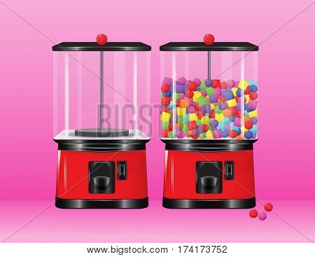 A vector gumball vending machine having multicolored gumballs.