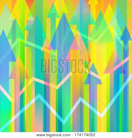 Colourful vector background with many arrows and chart lines