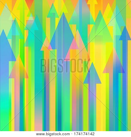 Colourful vector background with many different sized arrows