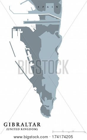 Gibraltar political map. British Overseas Territory on southern end of Iberian Peninsula. The Rock of Gibraltar shares its northern border with Spain. Gray illustration with English labeling. Vector.