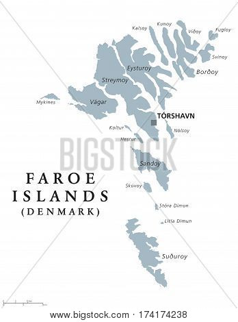 Faroe Islands political map with capital Torshavn, also the Faeroes. Autonomous country and part of the Kingdom of Denmark. Archipelago in North Atlantic. Gray illustration. English labeling. Vector.