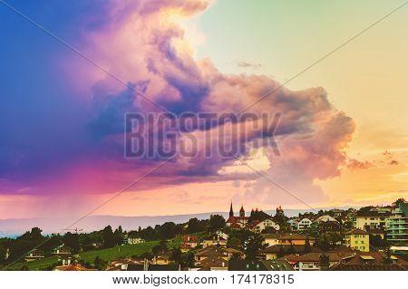 Purple rain over Lausanne at summertime, Switzerland