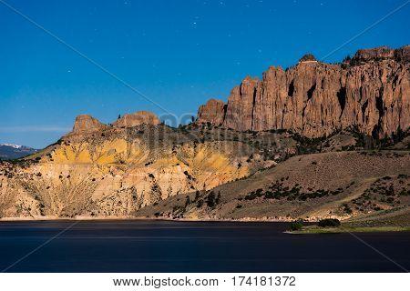 Blue Mesa Colorado beneath the stars and night sky.