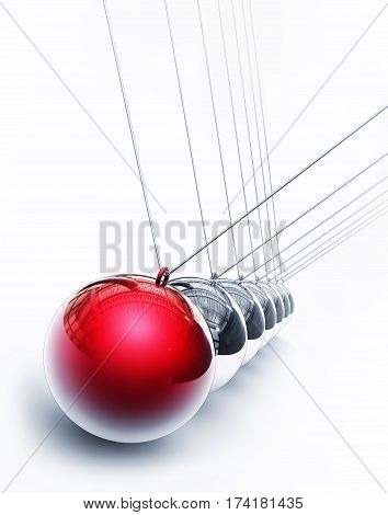 3D rendering of a pendulum with a red sphere