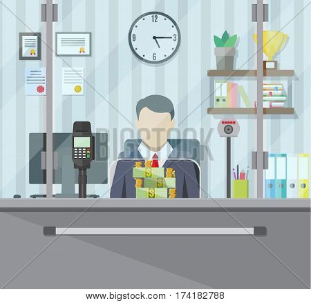 Bank teller behind window. Books, cup, plant, clocks, computer and keypad terminal. Stacks of dollars. Depositing money in bank account. People service and payment. vector illustration in flat style