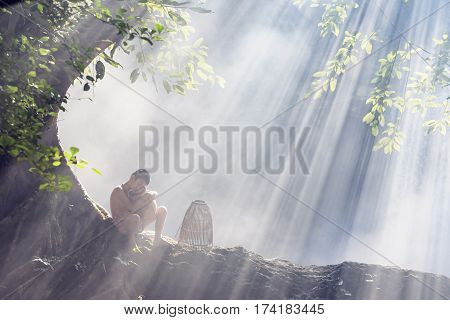 Children With Waterfall