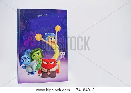 Hai, Ukraine - February 28, 2017: Animated Disney Pixar Cartoon Production Book Inside Out On White