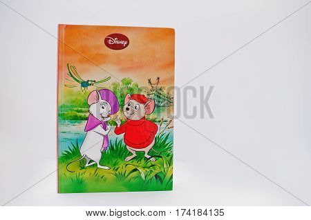 Hai, Ukraine - February 28, 2017: Animated Disney Movies Cartoon Production Book The Rescuers On Whi