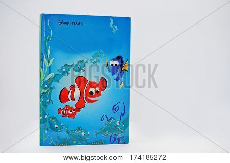 Hai, Ukraine - February 28, 2017: Animated Disney Pixar Movies Cartoon Production Book Finding Nemo