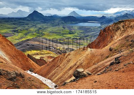 Travel to Iceland. Beautiful Icelandic landscape with mountains, sky and clouds. Trekking in national park Landmannalaugar poster