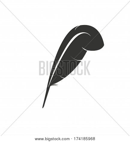 Feather black isolated vector icon. Authorship concept.