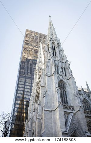 NEW YORK - JAN 13 2017: NYPD Det. Steven McDonald funeral procession and service at St Patricks Cathedral, 5th Avenue, Manhattan - St Patricks Cathedral.