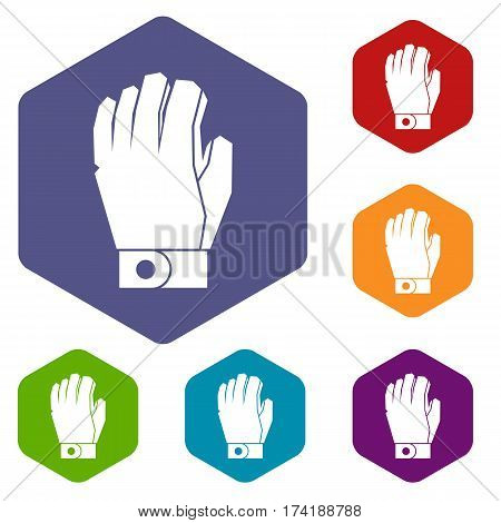 Hockey glove icons set rhombus in different colors isolated on white background