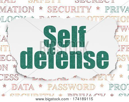 Safety concept: Painted green text Self Defense on Torn Paper background with  Tag Cloud